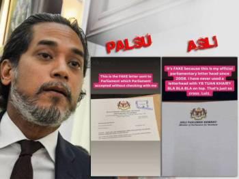 Khairy memaparkan perbezaan kepala surat Ahli Parlimen Rembau yang asli dan palsu.