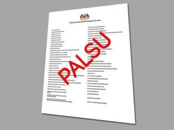 Laporan senarai penuh Menteri Persekutuan 2020 yang tular di media sosial hari ini disahkan palsu.