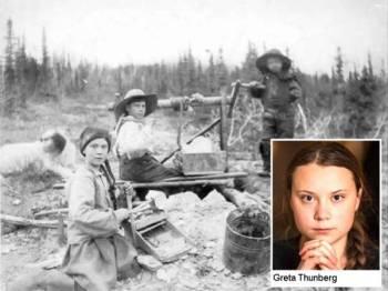 Wajah Greta Thunberg serupa dengan foto gadis itu dan warganet mengatakan Greta seorang pengembara masa dihantar dari tahun 1898.