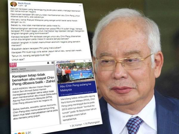 Perkongsian Najib di Facebooknya yang dimuat naik kira-kira jam 4 petang tadi kini tular di media sosial yang meraih 9,800 tanda marah, 1,100 rakyat berkongsi perkara itu.