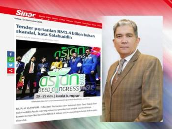Laporan Sinar Harian berkaitan kes tender pertanian bernilai RM1.4 bilion sebelum ini. (Gambar kecil: Mohd Sallehhuddin)