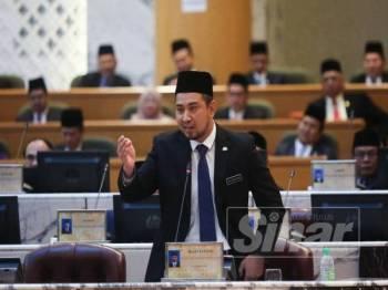 Dr Sahruddin ketika Sidang DUN Johor ke-14 hari ini.
