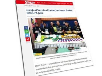 Antara laporan Sinar Harian berkaitan kes dadah di Kelantan.