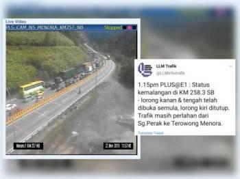 Aliran trafik sesak sehingga 7km. Makluman di laman Twitter LLM