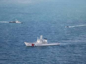 Antara aset APMM yang digerakkan pada eksesais bersepadu bersama TLDM di sekitar Laut China Selatan, kelmarin.