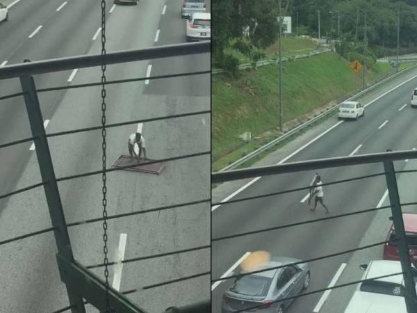 Aksi seorang lelaki yang mempertaruhkan nyawa mengalihkan jeriji besi ketika kenderaan sesak di jalan raya.