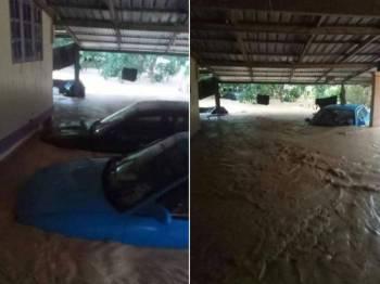 Keadaan air banjir yang melanda Kampung Chuchoh Puteri, Kuala Krai petang semalam. - Foto: Pembaca Shahrul Shah
