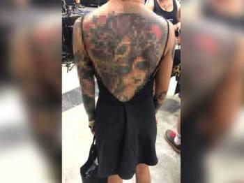 Salah seorang peserta ekspo berkenaan. - Foto Tattoo Malaysia Expo