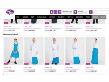Antara muka eHari yang menawarkan pelbagai pilihan kelengkapan sekolah secara online.