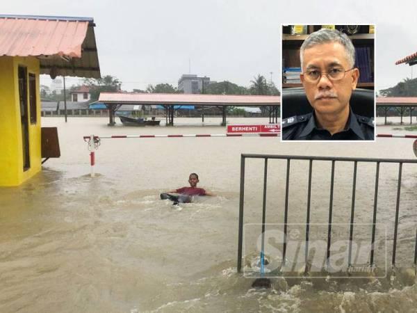Air Sungai Golok yang melimpah hingga ke kawasan sempadan. Gambar kecil: Ketua Polis Kelantan, Datuk Hasanuddin Hassan