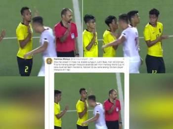Tangkap layar video memaparkan kekasaran pemain Filipina, Justin Baas bersalaman dengan pemain Malaysia menimbulkan rasa tidak puas hati skuad negara.