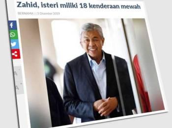 Seorang saksi perbicaraan di Mahkamah Tinggi Kuala Lumpur yang semalam mendedahkan Ahmad Zahid membayar cukai jalan lebih RM35,000 setahun bagi kenderaan yang kebanyakannya mewah.