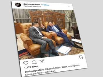 Gambar pertemuan mesra Anwar (kanan) dan Mohamed Azmin ditularkan dalam laman sosial Instagram sejak petang tadi.