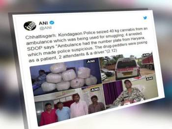 Polis di negeri Chhattisgarh menahan sekumpulan empat lelaki yang mengedar ganja menggunakan ambulans.