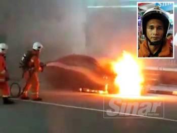 Anggota bomba bertungkus lumus memadamkan kebakaran. (Gambar kecil: Junaidi Mohd)