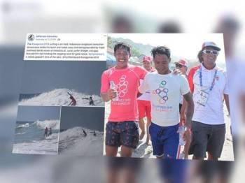 Pengguna Facebook Jefferson Ganuelas berkongsi gambar Roger Casugay (tengah) menyelamatkan peluncur Indonesia, Arip Nurhidayat.