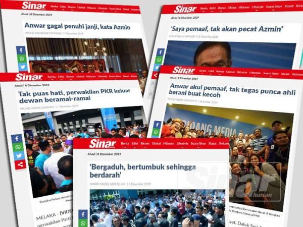 Antara laporan Sinar Harian berkaitan kekecohan dan kontroversi yang melanda sepanjang Kongres Nasional PKR yang berlangsung di Melaka.