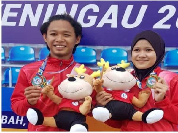 Mohammad Nor Musyaraf Mohd Sari dan Nur Aishah Rofina Aling dapat gelaran Raja dan Ratu Pecut temasya Sukan Sabah (SAGA) XI 2019.