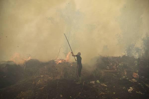 Seorang penduduk kampung cuba memadamkan kebakaran di sebuah perkampungan di Kampar, Riau pada September lalu. - Foto: AFP