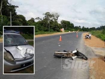 Keadaan motosikal yang ditunggangi warga emas terbabit. (Keadaan kereta Perodua Myvi yang terlibat dalam kemalangan itu.) - Foto Ihsan polis