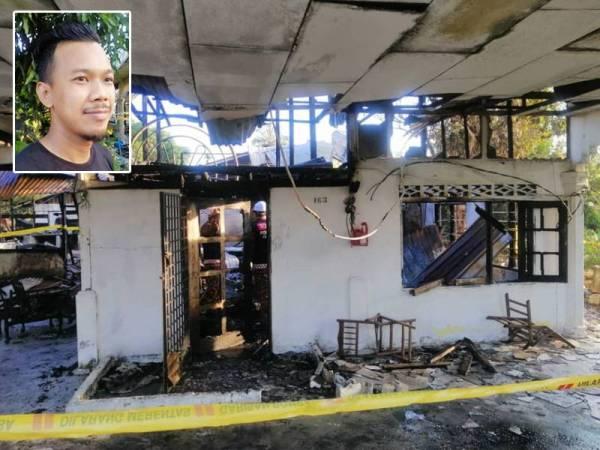 Keadaan rumah mangsa selepas terbakar awal pagi tadi. Gambar kecil: Nazri