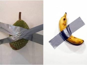 Durian Tape to White Wall cuba meniru karya seni pisang hasil cetusan idea artis dari Perancis.