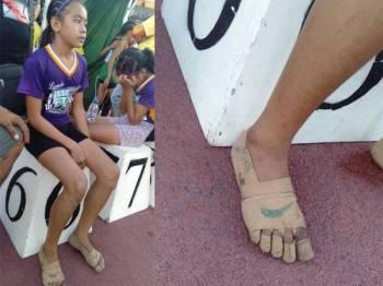 Walaupun tidak memiliki kasut namun ia tidak mematahkan semangat Bullos yang akhirnya berjaya memenangi tiga pingat emas dalam acara larian pada sukan SEA 2019. -Foto Predirick B. Valenzuela