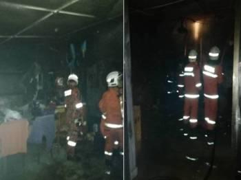 Anggota bomba melakukan pemeriksaan lanjut selepas api yang memusnahnya hampir keseluruhan rumah berjaya dipadamkan sepenuhnya. - Foto Ihsan Bomba