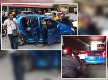 Pemandu kereta Myvi biru ditahan reman bermula hari ini. - Foto FACEBOOK