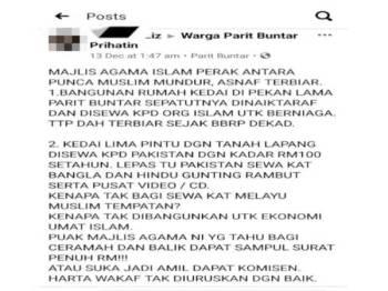 Hantaran seorang individu di laman Facebook Warga Parit Buntar Prihatin yang mendapat perhatian MAIPk kerana terdapat tuduhan tidak berasas ke atas badan tersebut.