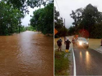 Keadaan banjir dekat Jalan R&R Dusun Panti Jalan Mersing - Kota Tinggi.