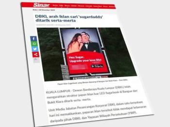 Laporan Sinar Harian berkaitan laporan iklan aplikasi Sugarbook.
