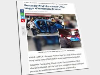 Laporan Sinar Harian mengenai pemandu kereta Myvi yang membawa penumpang lelaki OKU dan melanggar beberapa kenderaan sebelum ditahan orang awam.