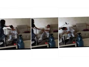 Aksi kejam si isteri memukul suaminya menggunakan tongkat berkaki empat mendapat perhatian netizen yang mengutuk tindakan tersebut.