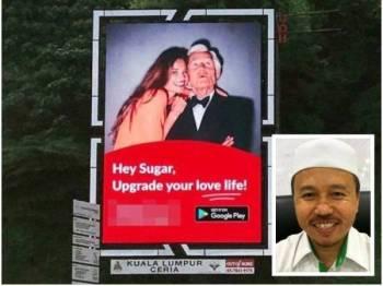 Papan iklan Sugarbook yang dikesan dipasang di Bangsar dan Bukit Kiara. - Foto DBKL (Gambar kecil: Ahmad)