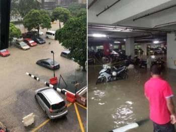 Parkir hospital dinaiki air akibat limpahan air sungai susulan hujan lebat.