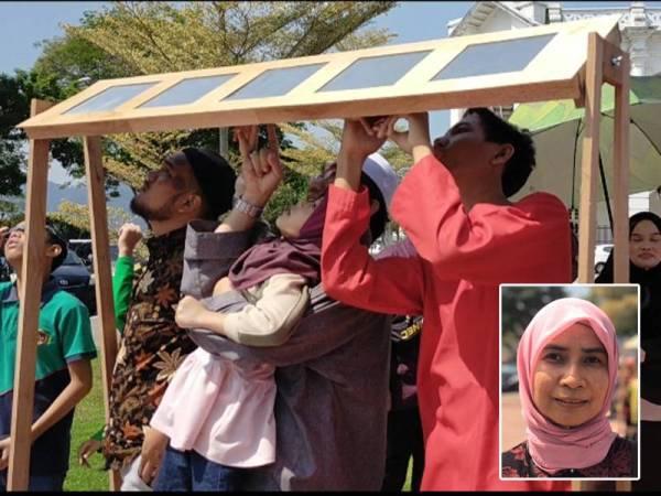'Frame solar eclipse filters' yang dibina penuntut PUO memudahkan pengunjung menyaksikan gerhana matahari separa. Gambar kecil: Masrita