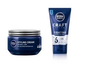 CRAFT Stylers Workable Styling Cream (kiri) dan Craft Stylers Fixating Styling Gel memberi kekemasan semula jadi dan daya tahan lama.