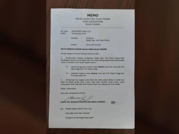 Notis had operasi yang dikeluarkan Pengerusi Masjid Jalan York.