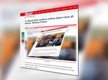 Laporan Sinar Harian semalam mengenai perkembangan nahas membabitkan rakyat Malaysia di Mesir.