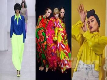 NUANSA neon, kuning bunga Marigold dan cetakan retro 60-an mewarnai trend fesyen 2020.