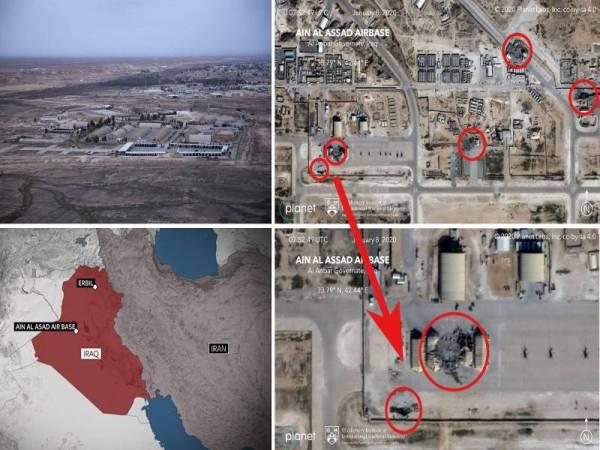 Peta menunjukkan kesan kemusnahan di pangkalan tentera Ain al-Asad di Iraq yang menjadi sasaran serangan balas dendam Iran semalam. -Foto Agensi