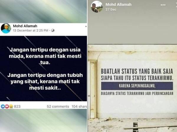 Antara status yang dimuat naik Mohd Allamah di media sosial tentang kematian sebelum maut dalam kemalangan jalan raya, Khamis lalu.