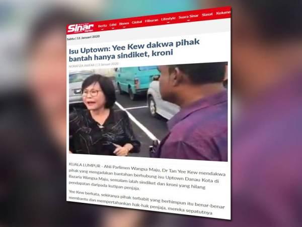 Laporan Sinar Harian berkaitan kes Uptown Danau Kota.