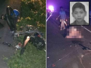 Motosikal ditunggang mangsa yang hancur dilanggar lori. Gambar kanan: Muhammad Hafiz Hakimie Rozari, 16, meninggal dunia di lokasi kejadian.