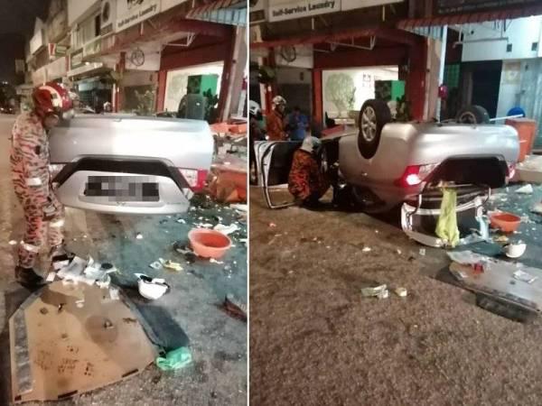 Keadaan kereta yang merempuh meja makan di sebuah restoran di Taman Desa Harmoni pagi tadi.