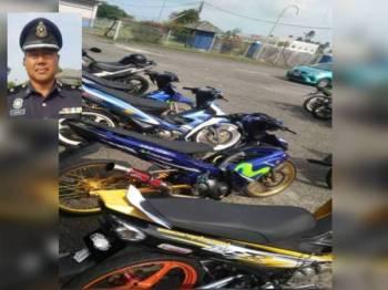 Sebahagian daripada motosikal yang disita dibawa ke IPD Dungun untuk tindakan lanjut. Foto: Ihsan IPD Dungun (Gambar kecil: Baharudin Abdullah)