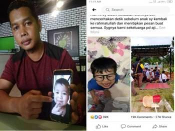 Mohd Esmadi menunjukkah gambar Dayyan (kiri) dan Status yang dimuat naik Mohd Esmadi dan kini mendapat 27,000 perkongsian di Facebook