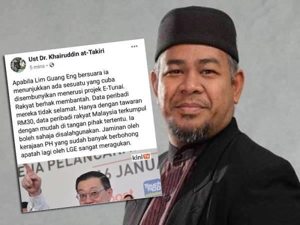 Kenyataan mengenai dakwaan bahawa e-Tunai berisiko disalah guna yang dimuat naik Mohd Khairuddin di laman sosial Facebooknya hari ini.