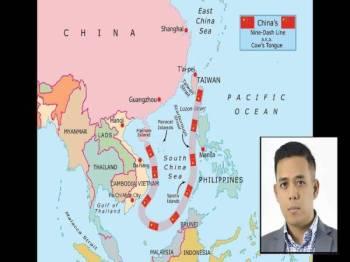 Nine Dash Line merupakan garisan maritim yang dituntut oleh China ke atas lebih 70 peratus dari keluasan Laut China Selatan berdasarkan peta pada tahun 1947. (Gambar kecil: Dr Ahmad Sauffiyan)